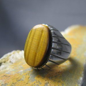 Mid Century Tiger Eye Signet Ring Sterling Silver
